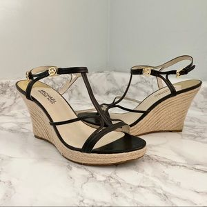 Michael Kors Cicely Rope Wedge Heel Black 8.5